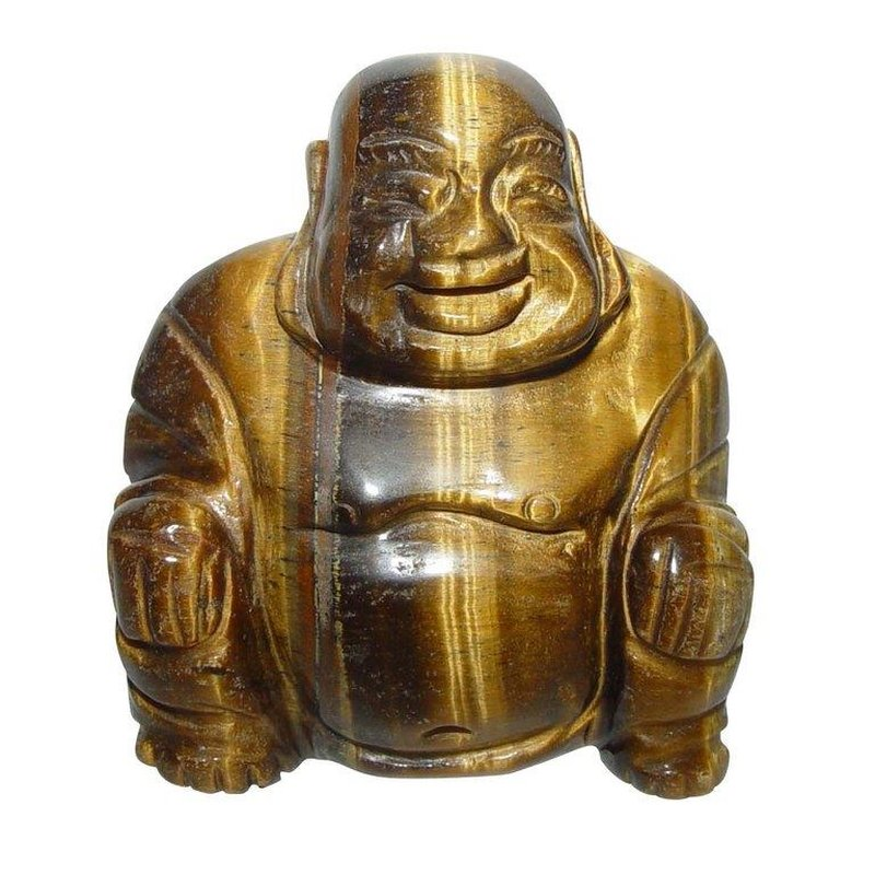 Tigerauge Buddha Ca 45 X 50 Mm Aus Echtem Edelstein Happy