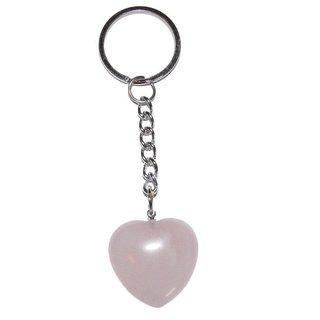 Rosenquarz Herz Schlüsselanhänger ca 35 mm mit Kette und Schlüsselring ca 85 m